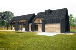 Duurzame vrijstaande particuliere zelfbouw gezinswoning (perspectief zijaanzicht) - Blackhouse | Eustace Architectuur
