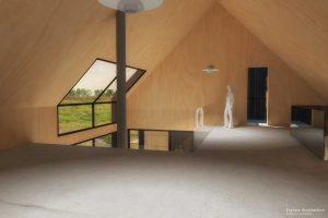 Duurzame vrijstaande particuliere zelfbouw gezinswoning (interieur bovenverdieping studio) - Blackhouse | Eustace Architectuur