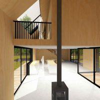 Duurzame vrijstaande particuliere zelfbouw gezinswoning (interieur met zicht naar bovenverdieping) - Blackhouse | Eustace Architectuur