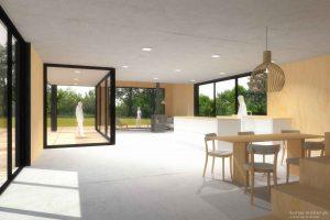 Duurzame vrijstaande particuliere zelfbouw gezinswoning (interieur woonkamer) - Blackhouse | Eustace Architectuur