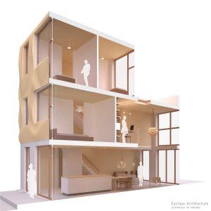 Duurzame particuliere zelfbouw gezinswoning (doorsnede B) - Casa Madera | Eustace Architecture
