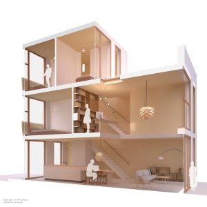 Duurzame particuliere zelfbouw gezinswoning (doorsnede A) - Casa Madera | Eustace Architecture