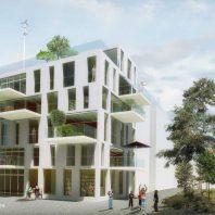 Duurzame CPO zelfbouw loft appartementen (perspectief gevelbeeld) - Loft casco appartementen | Eustace Architectuur