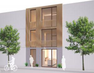 Duurzame particuliere zelfbouw gezinswoning (gevel aanzicht) - Casa Madera | Eustace Architecture