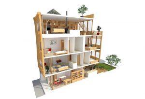 Eustace Architecture-Duurzame particuliere zelfbouw--doorsnede-A