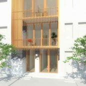 Duurzame particuliere zelfbouw meer generatie gezinswoning (gevelbeeld ingang straatzijde) - Stek | Eustace Architectuur