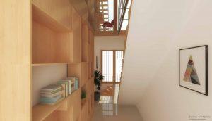 Duurzame particuliere zelfbouw meer generatie gezinswoning (interieur overloop 3rde verdieping) - Stek | Eustace Architectuur