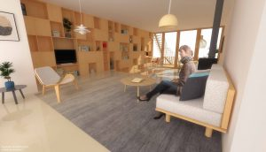 Duurzame particuliere zelfbouw meer generatie gezinswoning (interieur woonkamer) - Stek | Eustace Architectuur