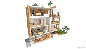 Duurzame particuliere zelfbouw meer generatie gezinswoning (doorsnede) - Stek | Eustace Architectuur