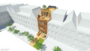 Duurzame particuliere zelfbouw meer generatie gezinswoning (vogelvlucht perspectief tuinzijde) - Stek | Eustace Architectuur